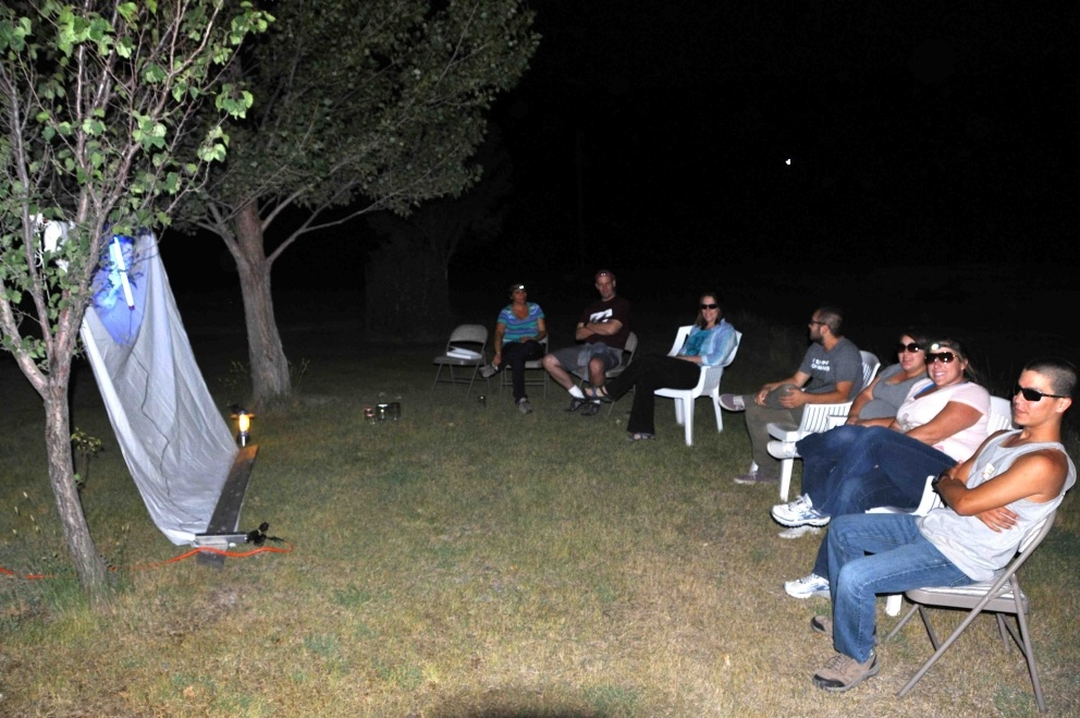 Black lighting for moths at Magpie Ranch