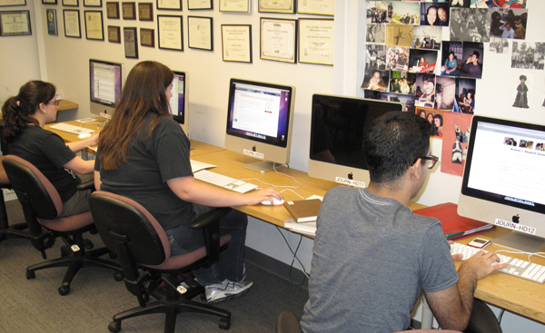 The journalism newsroom for the Campus Times and La Verne Magazine